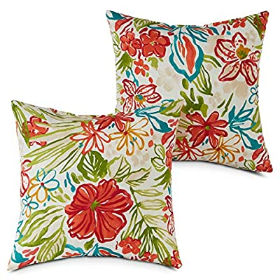 South Pine Porch AM4803S2-BREEZE Breeze Floral Outdoor 17-inch Square Accent Pillow, Set of 2 : Garden & Outdoor
