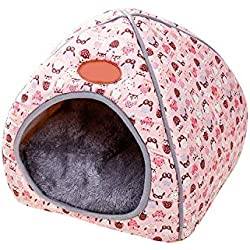 invincible besstore Cave Pet Supplies Cute Pet Dog Cat House Kennel Warm Cushion Basket Bed Fit Small Cats Dogs,A,S