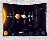 Ambesonne Outer Space Tapestry Wall Hanging, Solar System Educational Scientific Information Jupiter Saturn Universe Telescope Print, Bedroom Living Room Dorm Classroom, 80 W X 60 L, Multi