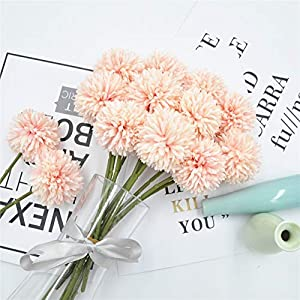 Jasion 10pcs Artificial Chrysanthemum Ball Flowers Bouquet for Present Home Office Coffee House Parties and Wedding Decoration 14