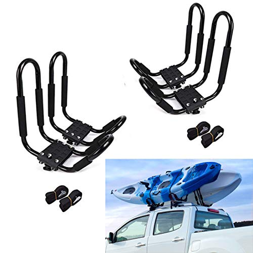 KEMIMOTO 2 Pairs Kayak Roof Rack, Boat Surf Ski Top Mount Car Carrier Top J-Bar Mount for SUV Crossbar