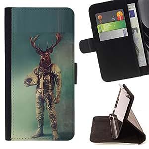 KingStore/funda de piel sintética para Samsung Galaxy S4 IV I9500 // cérvidos astronauta Retro