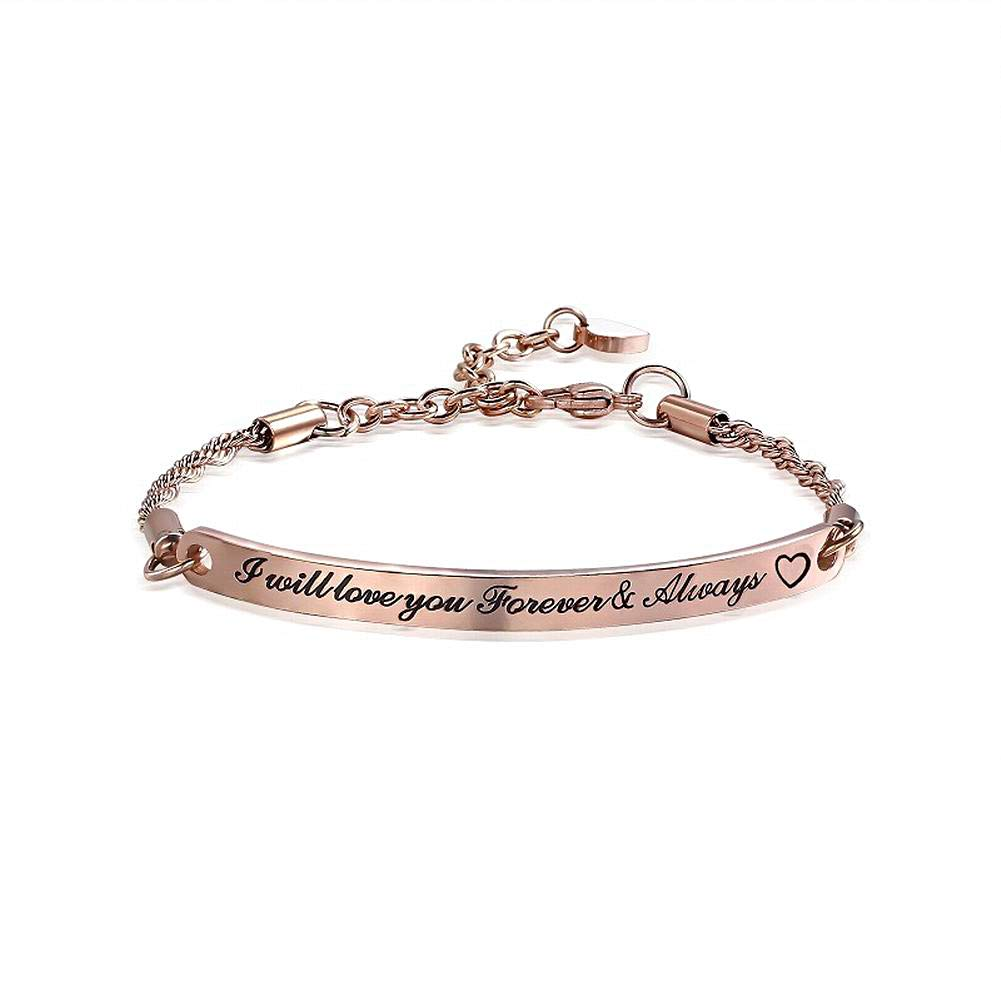 Pophylis Rose Gold Inspirational Bracelet Bangle Engraved You are Braver Than You Believe Women Girls Daughter Gifts