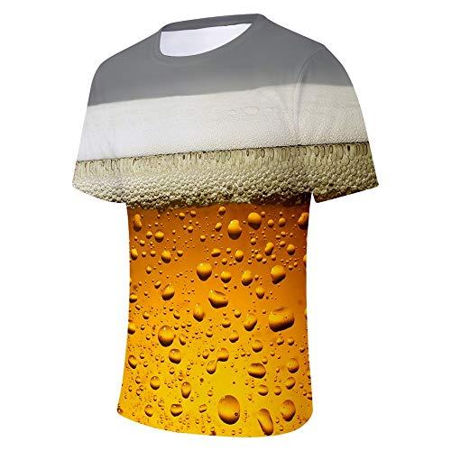 Men's Summer Beer Festival 3D Printing O-Neck Short Sleeve Blouse Tops -