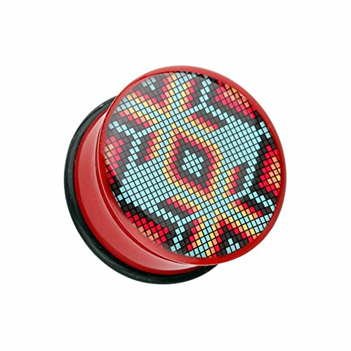 Single Navajo - Covet Jewelry Red Navajo Beads Single Flared Ear Gauge Plug (00 GA (10mm))