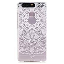 KSHOP Accessory for Huawei P9 Case Cover Bumper Shell Soft TPU Silicone Transparent Clear Ultra Slim Skin Shell Anti-scratch Protective Bumper-White Sunflower