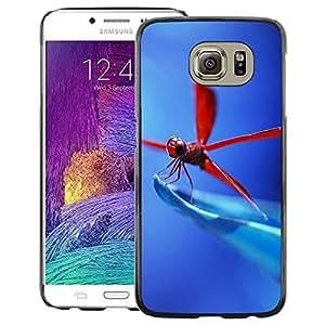 Snap-on Series Teléfono Carcasa Funda Case Caso para Samsung Galaxy S6 , ( Red Dragonfly )