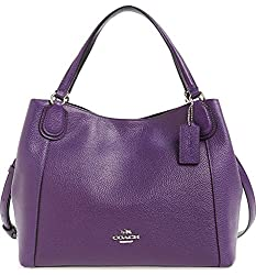 Coach Edie 28 Pebbled Leather Shoulder Bag 36418 Violet