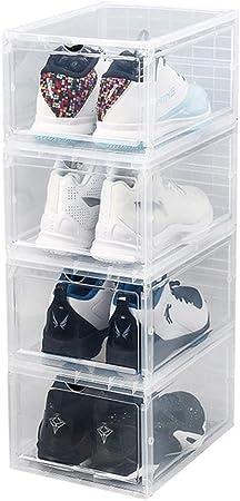 NNDQ 4 Paquete de la Mejor Calidad Caja de Zapatos de Almacenamiento, Caja de Almacenamiento de Zapatos para Hombre para Mujer, Caja de Zapatos de Almacenamiento Ahorre Espacio Limpie para el Armario: