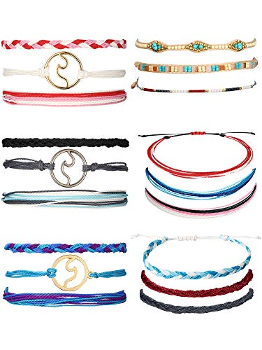 Trounistro 18 Pieces Wave Strand Bracelet Set Braided Rope Bracelet Multicolor Variety String Bracelet Collection for Women Men Kids (Style ()