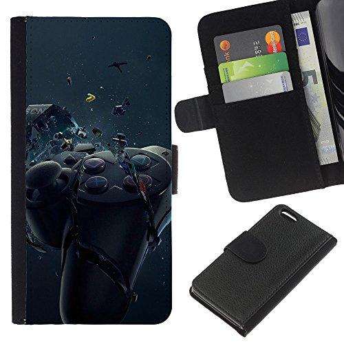 Funny Phone Case // Cuir Portefeuille Housse de protection Étui Leather Wallet Protective Case pour Apple Iphone 5C /Contrôleur de jeu Smash/