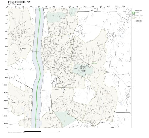 ZIP Code Wall Map of Poughkeepsie, NY ZIP Code Map Laminated (Zip Poughkeepsie)