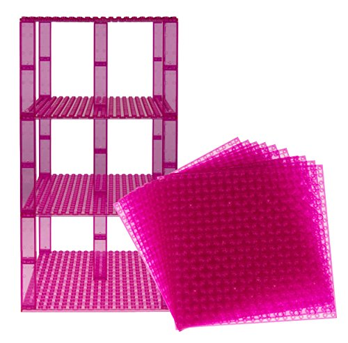 "Free Premium Clear Magenta Stackable Base Plates - 10 Pack 6"" x 6"" Baseplate Bundle with 80 Clear Magenta Bonus Building Bricks - Compatible with All Major Brands - Tower Construction"