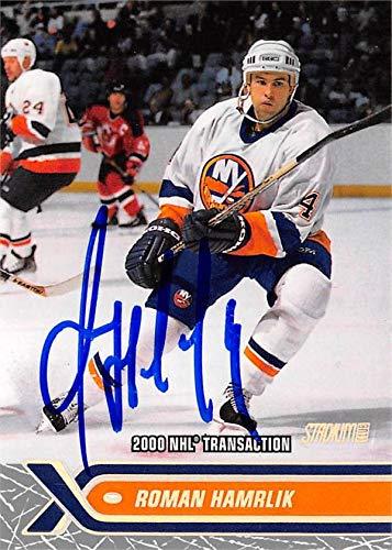 - Roman Hamrlik autographed Hockey Card (New York Islanders, SC) 2000 Topps Stadium Club #221