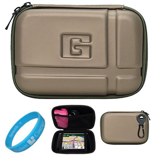 Gun Metal Durable 5.2-inch Protective GPS Carrying Case with Removable Carbineer for Garmin nüvi 1490 / 1490T / 1490LMT / 1450 / 1450T / 1450LMT / 2460 / 2460LT / (Nuvi 1490 Carrying Case)