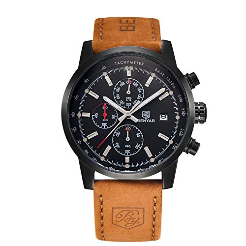 Conbays Men s Outdoor Sport Watch with Brown Leather Watchband Black Chronograph Waterproof Quartz Casual Wristwatch Date Display Stopwatch for Man