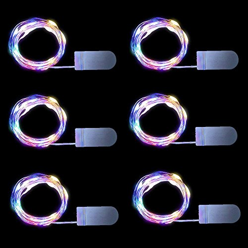 Color Changing Flashing Fairy Lights Battery Operated, 6.6ft 20 LEDs 6 Packs, Mason Jars Lights Multicolor Fairy lights Twinkle Lights Battery Operated LED String Lights for Decoration