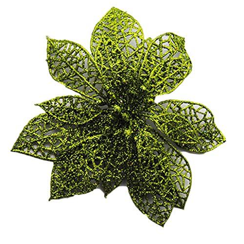 (BaoST 10Pcs Xmas Tree Wreath Decor Wedding Party Christmas Decorative Hollow Glitter Flowers Artificial Poinsettia Flowers Halloween Christmas Ornament DIY Floral Arrangements Green)