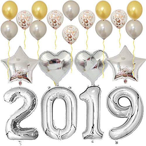 2019 Balloons Silver-Large Kit for Happy New Year Eve Party Supplies,Prom,Graduation Decorations-Foil Mylar Number Balloon|Rose Gold Confetti Latex Balloon