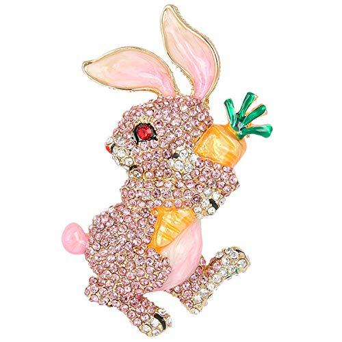 (EVER FAITH Austrian Crystal Enamel Adorable Rabbit with Carrot Brooch Pendant Pink Gold-Tone)
