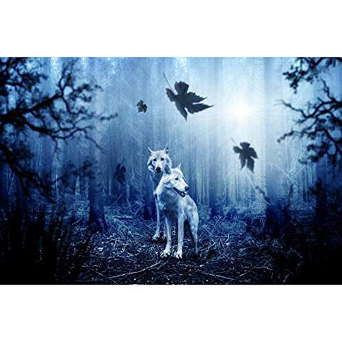 Cross Diamond Painting - 5D Diy Diamond Embroidery Diamond Painting Cross Stitch Kits The Cross Mosaic Pattern Christmas Gift For Adults (17.7X23.6 Inch)- Blue Forest Wolf(Frameless) ()