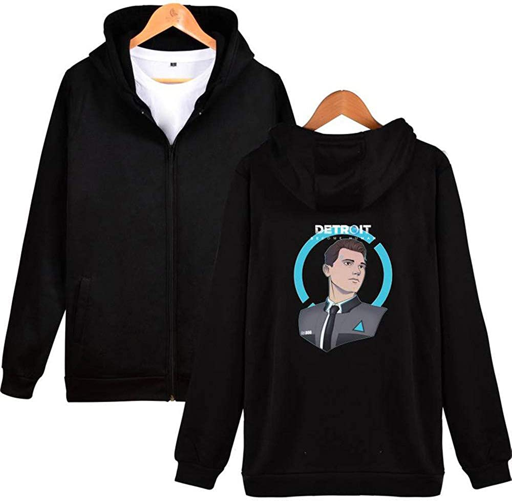 biaohe Check Out The Detroit Become Human Trend Zip-Up Daily wear Hoodie Outerwear Black A XS