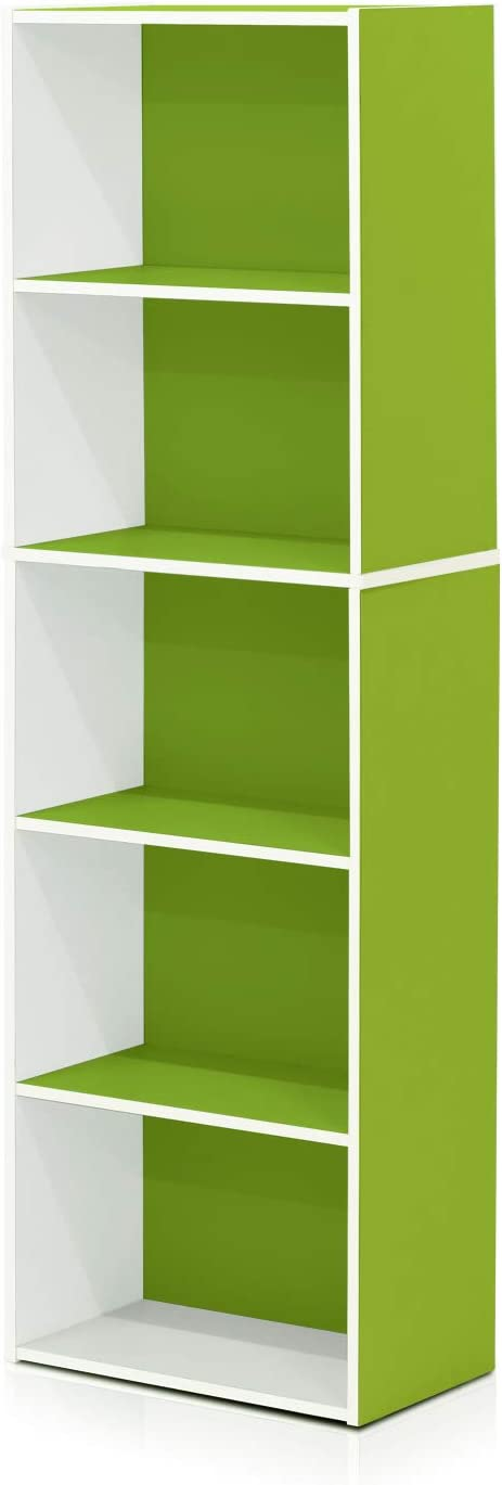 Furinno 5-Tier Reversible Color Open Shelf Bookcase , White/Green 11055WH/GR