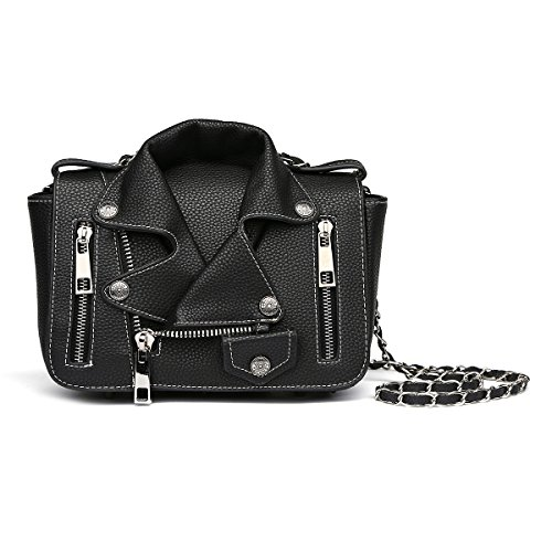 Handle Top Shoulder Strap Detachable Black Zipper Studded Handbag W Biker 6FxnwqFr4d