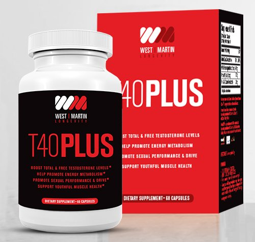 T40PLUS - Testosterone Booster Dietary Supplement All Natural Formula - Boosts Total & Free Testosterone Levels - Promotes Muscle Growth - Enhances Sex Drive - Increases Stamina & Energy by West~Martin Longevity