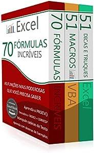 Domine o Excel ® (3 em 1): Excel - 70 Fórmulas Incríveis, Excel - 51 Macros incríveis e 51 Dicas e Truques Inc
