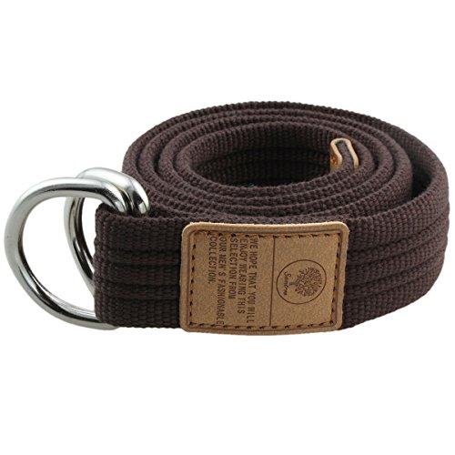 moonsix Canvas Web Belts for Men, Military Style D-ring Buckle Men's Belt, Brown (Belted Canvas Belt)