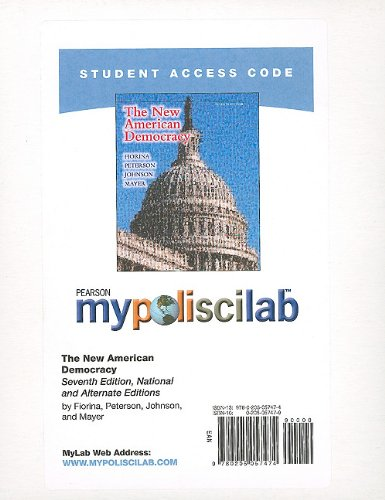 MyPoliSciLab without Pearson eText -- Standalone Access Card -- for New American Democracy, The (National and Alternate