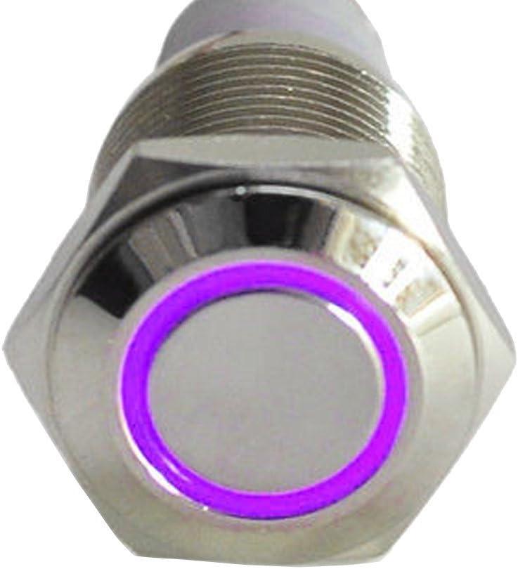 Mintice/™ Auto 12V 16mm simbolo luce verde LED occhio angelo cerchio metallo premi il bottone interruttore a levetta Aggancio