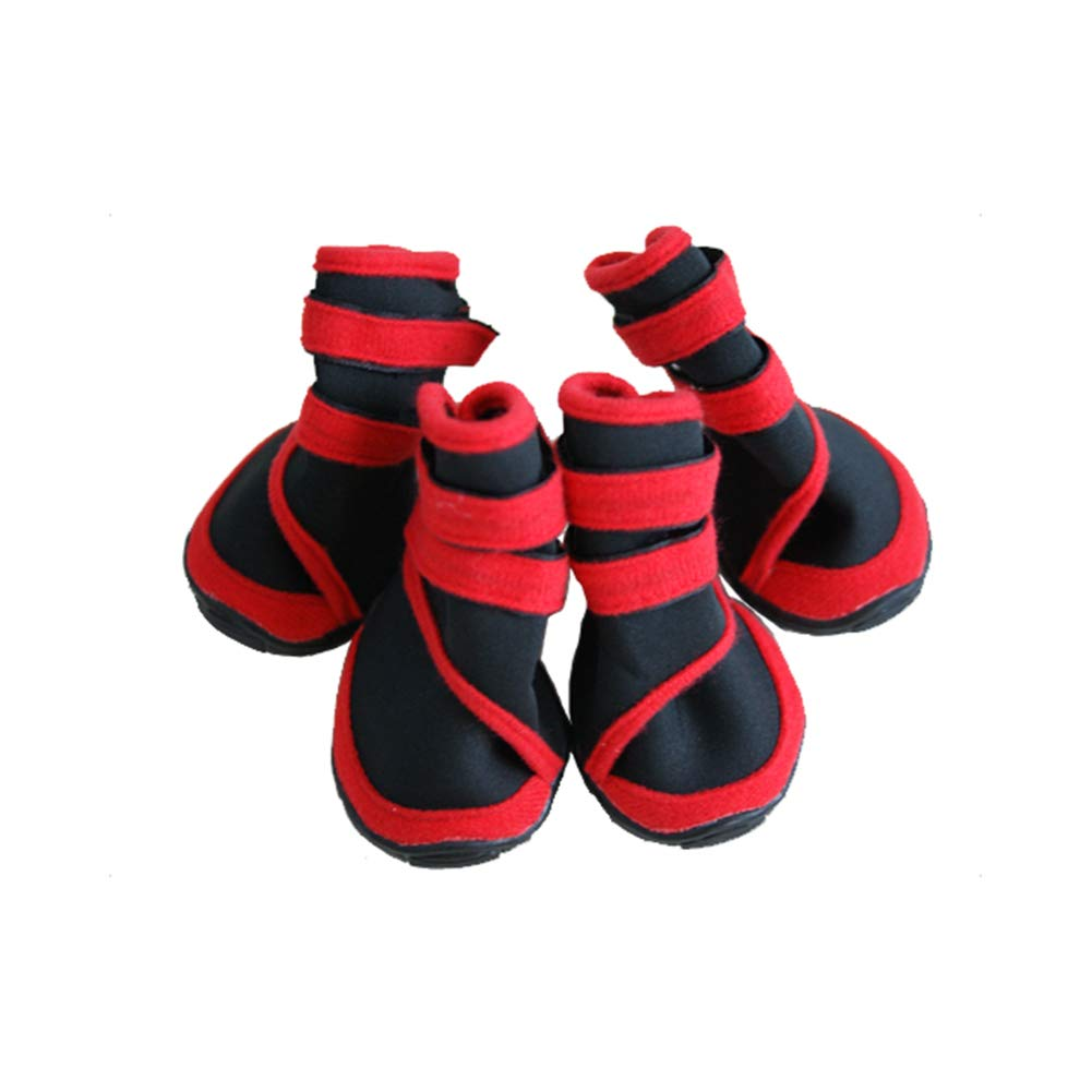 Red+Black XXL Red+Black XXL Dog Boots Non-Slip Wear-Resistant Pet shoes Waterproof Claws Predective Cover Oxford Soles Suitable for Medium and Large Dogs Warm Dog shoes Red XXS-XXL