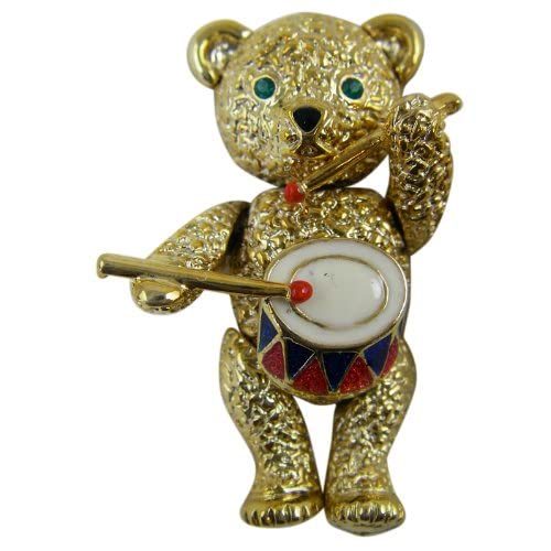 Gold Pewter Motion Little Drummer Bear Pin