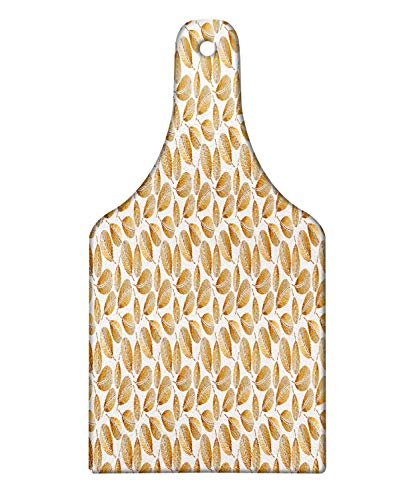 Lunarable Leaf Cutting Board, Sunny Yellow Autumnal Tones Palm Leaves Repetitive Illustration, Decorative Tempered Glass Cutting and Serving Board, Wine Bottle Shape, Ginger Camel Taupe and Coconut