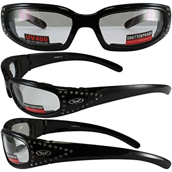 15320025c11b Set of 2 Women Motorcycle Padded Sunglasses Glasses Clear and Smoked  Rhinestones With Vented EVA Foam Padding UV400 Filter for Maximum UV  Protection