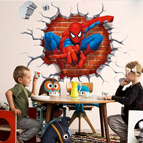 Jiahui Brand DIY Removable Spiderman 3D Cracked Children Themed Art Boy Room Wall Sticker Home Decal, Peel and Stick Wall Decal for Kids Room Wall Decor by Jiahui Brand (Image #4)