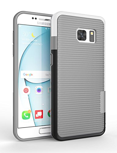 S7 Cases, Samsung Galaxy S7 Case, Cute Shock Absorbing Hybrid Best Impact Defender Rugged Slim Protective Case Shell w/ Grip Soft Armor Cover [Gray/White/Black]