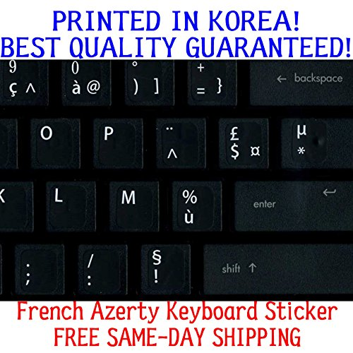 French Replacement KEYBOARD STICKER WITH Big Letters Non-Transparent Opaque (Keyboard Powerbook Keys)