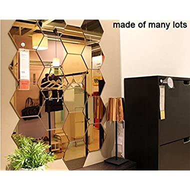 16x18cm x 7pcs Extra Big 3D Modern Mirror Geometric Hexagon Acrylic Wall Sticker Art DIY Decoration (Silver)