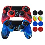 ps2 grand theft auto trilogy - Hikfly Non-Slip Studded Rubber Oil Silicone Controller Cover with 8pcs Thumb Grips Caps Kit for Sony PS4/Slim/Pro Controller(Camouflage Blue,Red)