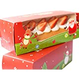 WYTD Christmas Portable Swiss Roll Cake Boxes Bakery Cake Gift Boxes With Window (Pack of 6)