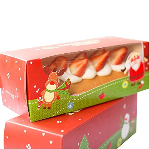 WYTD Christmas Portable Swiss Roll Cake Boxes Bakery Cake Gift Boxes With Window (Pack of 6)  sc 1 st  Amazon.com & Christmas Bakery Boxes: Amazon.com Aboutintivar.Com