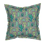 Roostery Cactus Velvet Throw Pillow - Botanical Cacti Succulents Southwest Desert Western by Caja Design - Flanged Cover and Insert Included