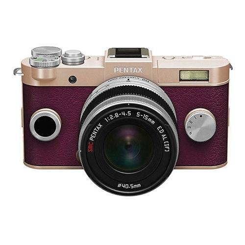 Pentax Q-S1 Mirrorless Digital Camera with 5-15mm Zoom Lens, Shake Reduction, 3-inch LCD Monitor, 5 FPS, Full 1080p h.264 HD video - Champagne Gold / Burgundy