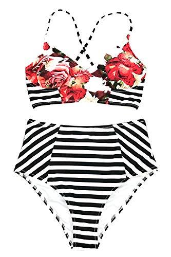 l Stripe Bathing Suit Lace Lined Two Piece Swimwear Small ()