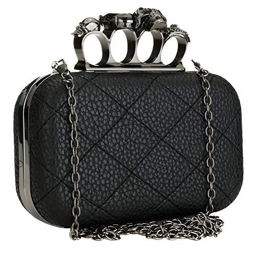 Womens Clutch Evening Bag Leather Crossbody Purses Skull Bone Crystal Handbag Shoulder Purses with Chain Strap