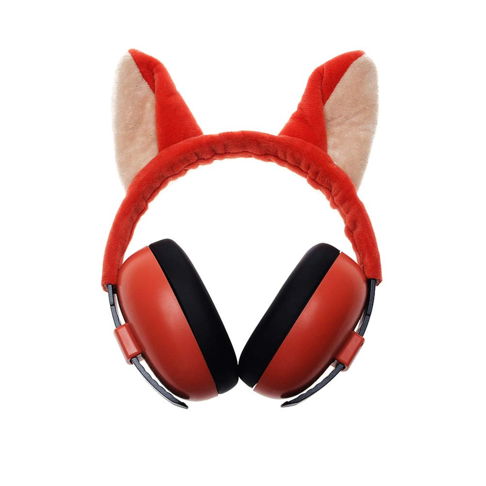 Aisence 3D Animal Safety Ear Muffs Kids Adjustable Hearing Protection Earmuffs Noise Cancelling Headphones (Red)