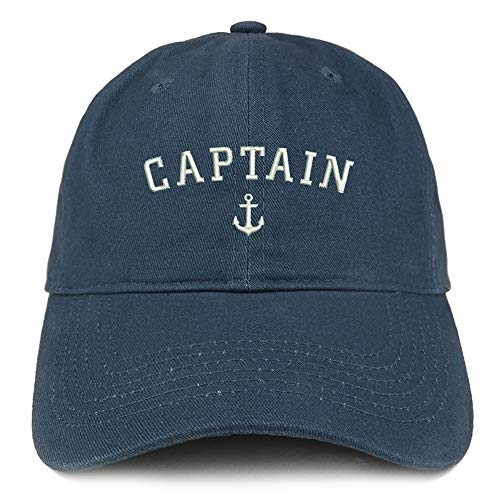 Trendy Apparel Shop Captain Anchor Embroidered Soft Crown 100% Brushed Cotton Cap - Navy]()
